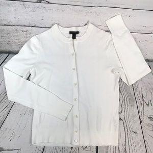 J. Crew- Button up cardigan, crew neck, white NWOT